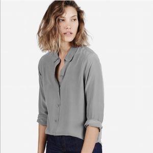 Everlane Classic Button Down Gray Silk Blouse